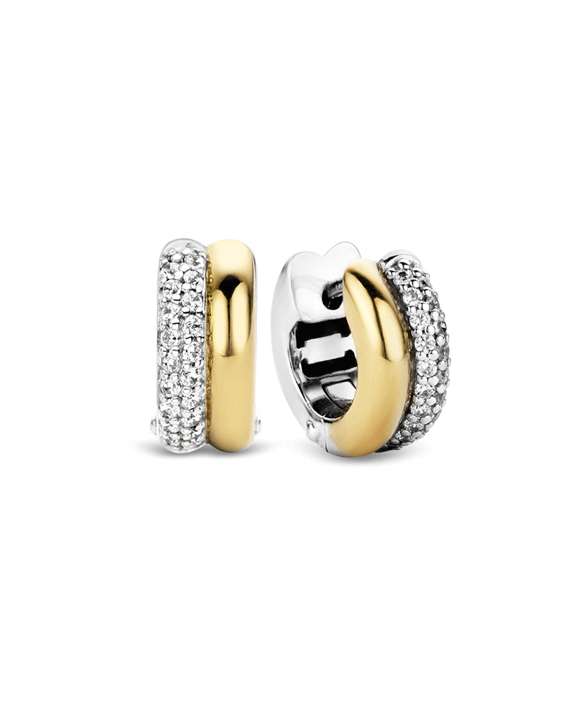 Ti Sento 18ct Gold Plated Silver & Zirconia Hoop Earrings
