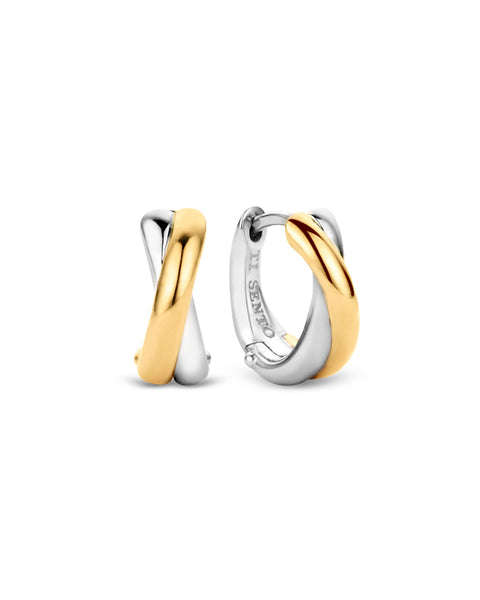 Ti Sento 18ct Gold Plated Silver Twist Hoop Earrings