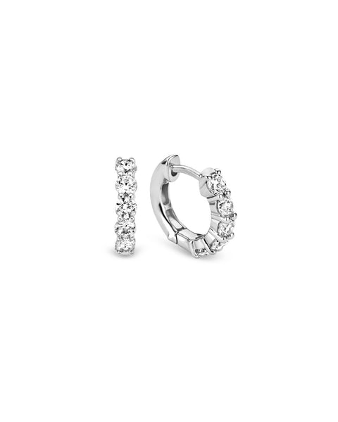 Ti Sento Silver & Claw Set Cubic Zirconia Hoop Earrings