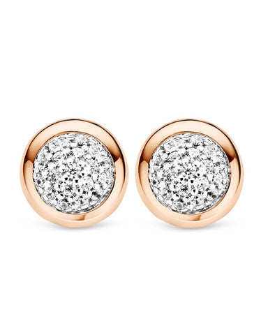 Ti Sento Rose Tone Cluster Set Circular Stud Earrings - 7732ZR