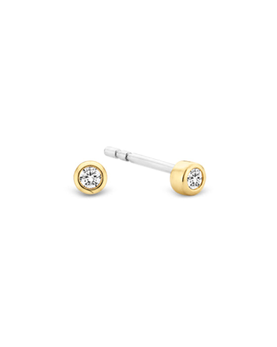 Ti Sento Small 18ct Gold Plated Silver & Zirconia Stud Earrings