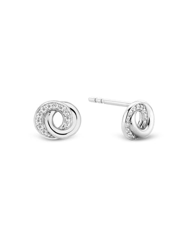 Ti Sento Double Halo Silver & Cubic Zirconia Earrings