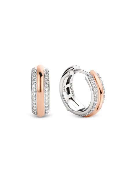 Ti Sento 18ct Rose Gold Plated Silver & Zirconia Hoop Earrings