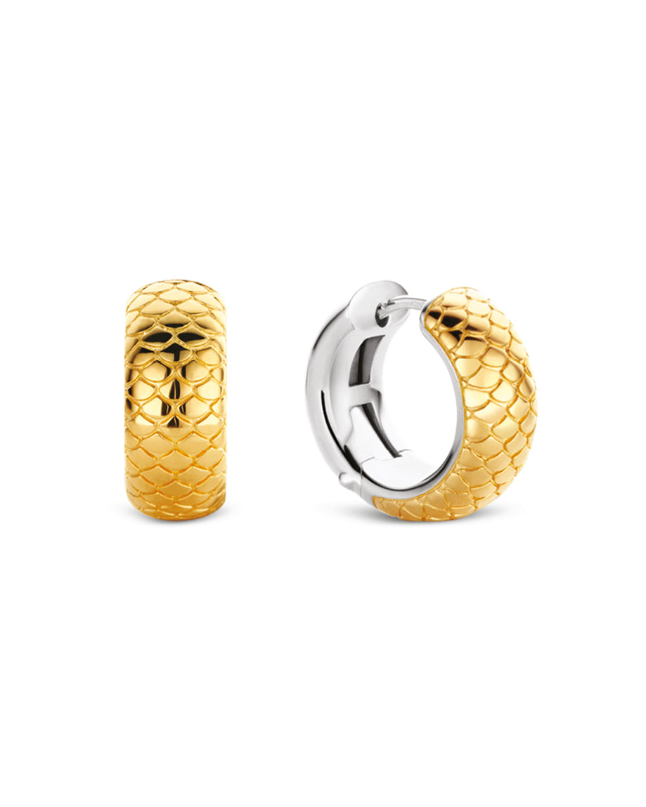 Ti Sento 18ct Yellow Gold Plated Silver Snake Skin Hoop Earrings