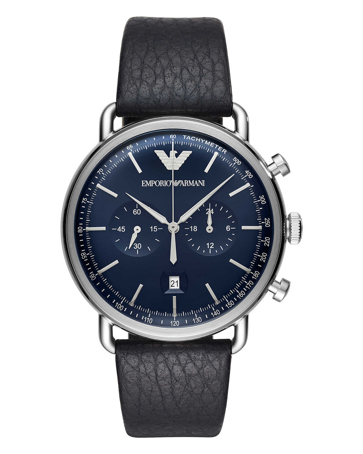 Emporio Armani Men's Navy Leather Strap Chronograph Watch