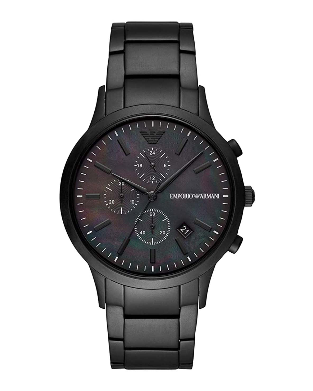 Emporio Armani Renato Chronograph Black Steel Gents Watch