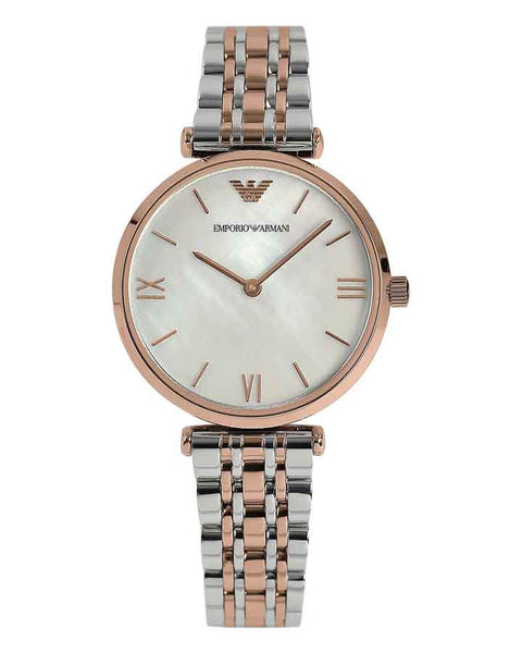 Emporio Armani Womens Silver & Rose Gold Watch AR1683