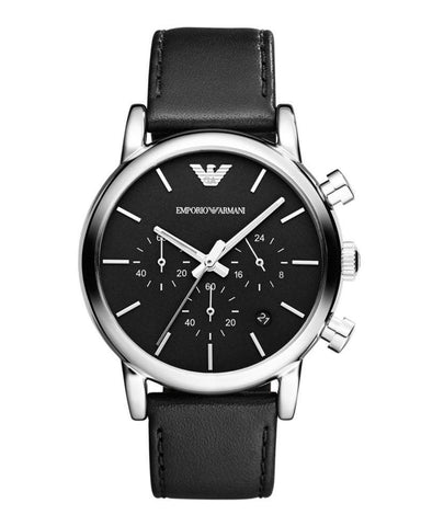 Emporio Armani Men's Classic Black Leather Strap Chronograph Watch