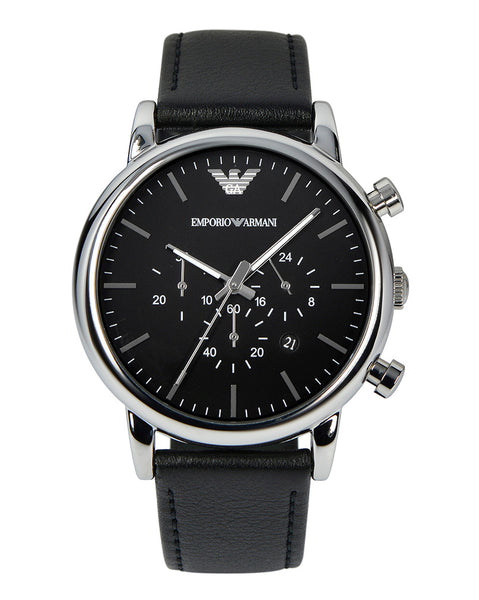 Emporio Armani Men's Black Leather Strap Chronograph Watch