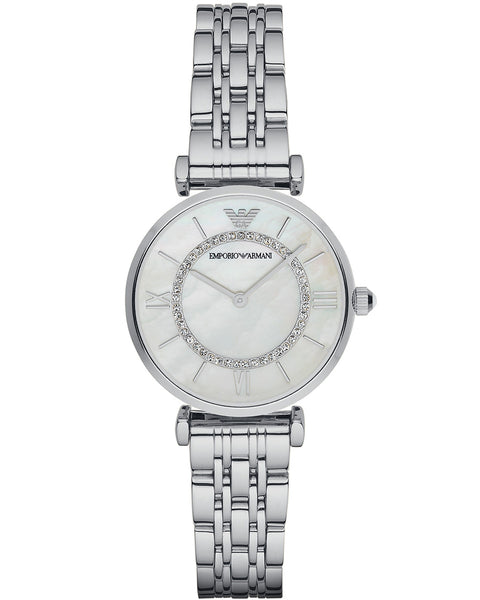 Emporio Armani Ladies Steel Mother of Pearl & Zirconia Dial Watch