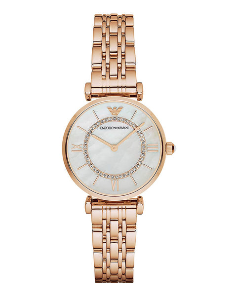 Emporio Armani Ladies Rose Gold Mother of Pearl & Zirconia Dial Watch