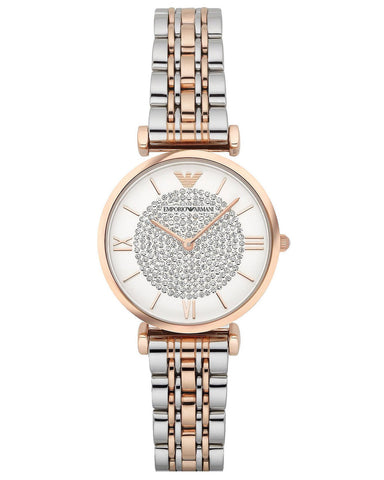 Emporio Armani Ladies Two-Tone Cubic Zirconia Dial Watch