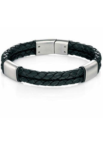 Fred Bennett Stainless Steel Mens Black Leather Bracelet - B4373
