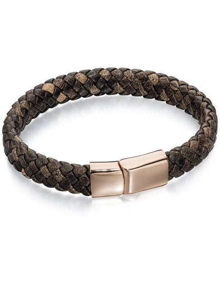 FRED BENNETT MENS ROSE GOLD PLATED LEATHER BRAID BRACELET
