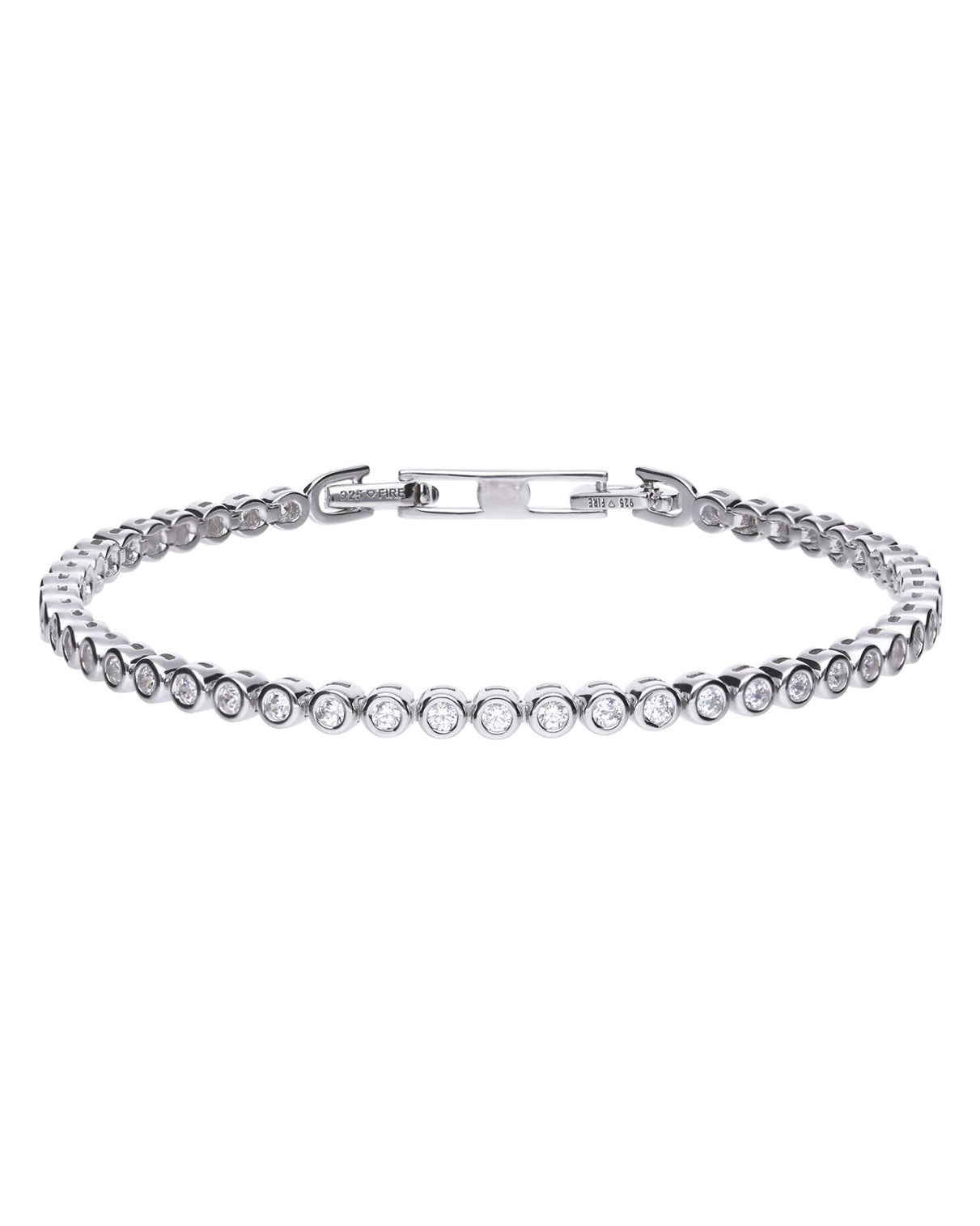 Diamonfire Silver Small Rubover Set Cubic Zirconia Tennis Bracelet
