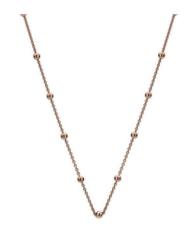"Emozioni Rose Gold Plated 18"" Intermittent Bead Chain"