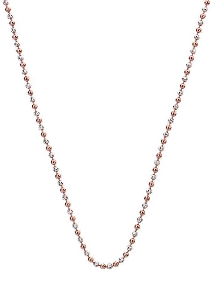 "Emozioni Silver and Rose Gold Accent Bead 35"" Chain"