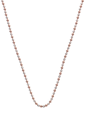 "Emozioni Silver and Rose Gold Accent Bead 24"" Chain"