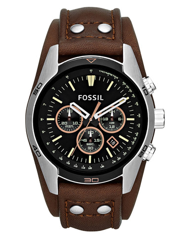 Fossil Coachman Chronograph Leather Strap Mens Watch