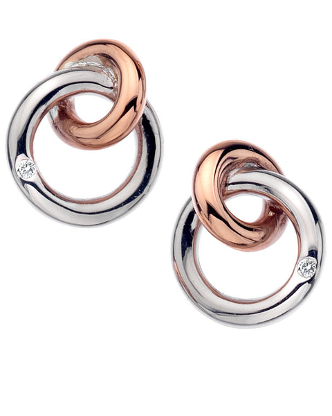 Hot Diamonds Eternity Rose Gold Plate Interlocking Earrings