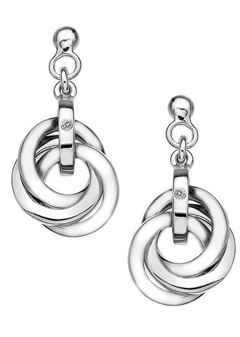 Hot Diamonds Trio Silver Interlocking Earrings