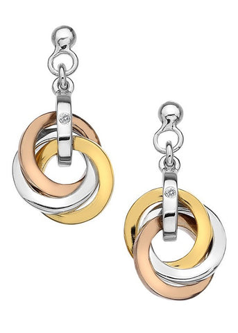 Hot Diamonds Trio Silver, Gold & Rose Earrings