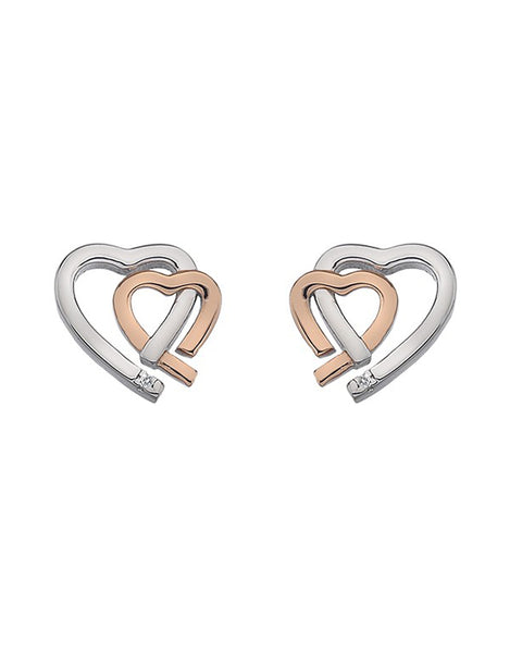 Hot Diamonds Amore Hearts Silver & Rose Gold Stud Earrings - DE532