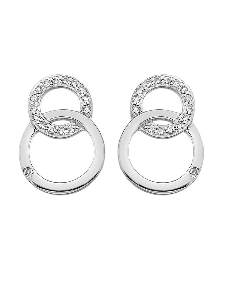 Hot Diamonds Bliss Interlocking Circles Sterling Silver Stud Earrings - DE533
