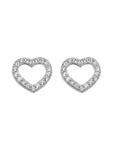 Hot Diamonds Bliss Heart Sterling Silver Stud Earrings - DE535