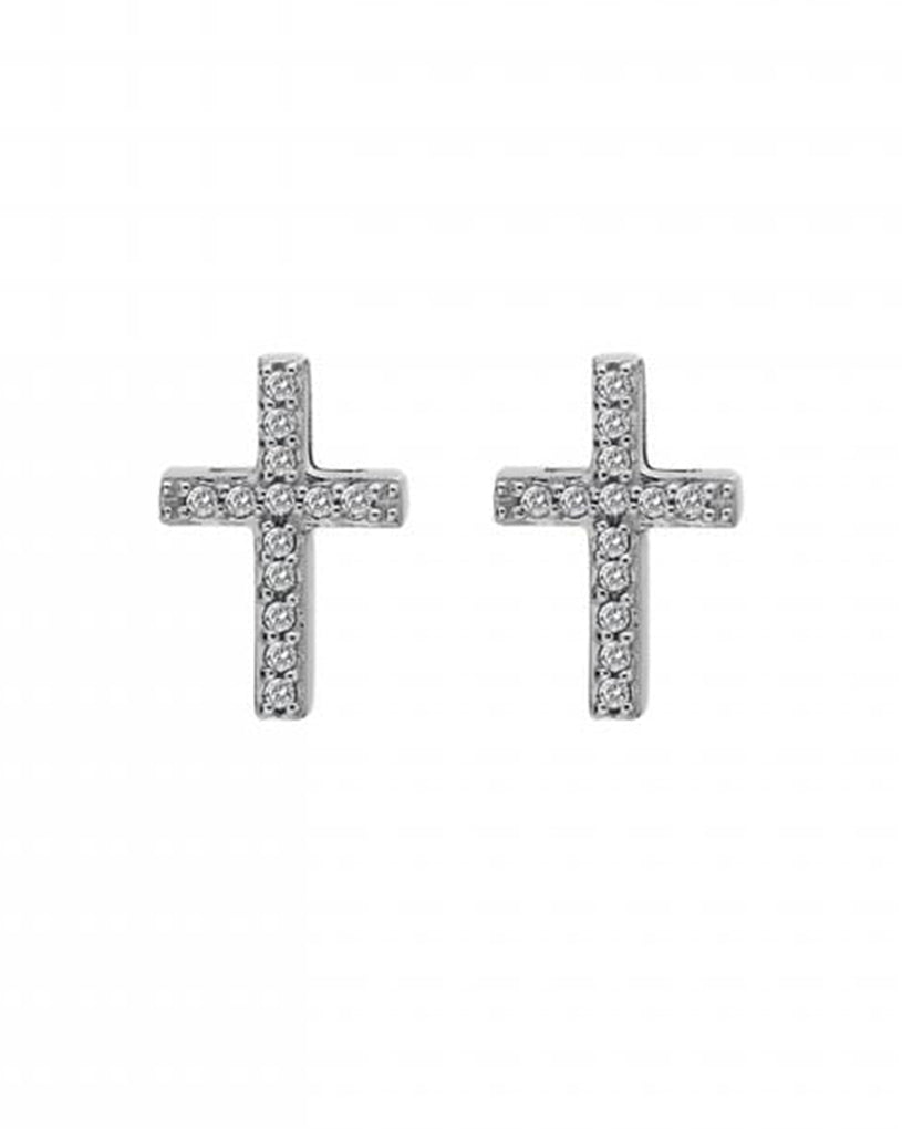 Hot Diamonds Bliss Cross Silver & White Topaz Earrings