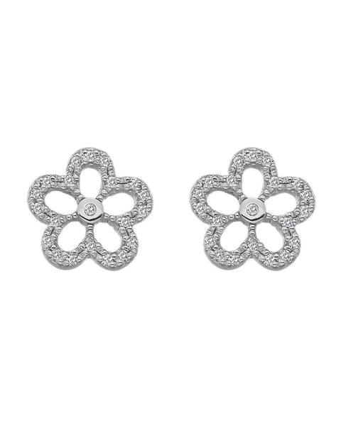 Hot Diamonds Silver & White Topaz Gentle Daisy Earrings
