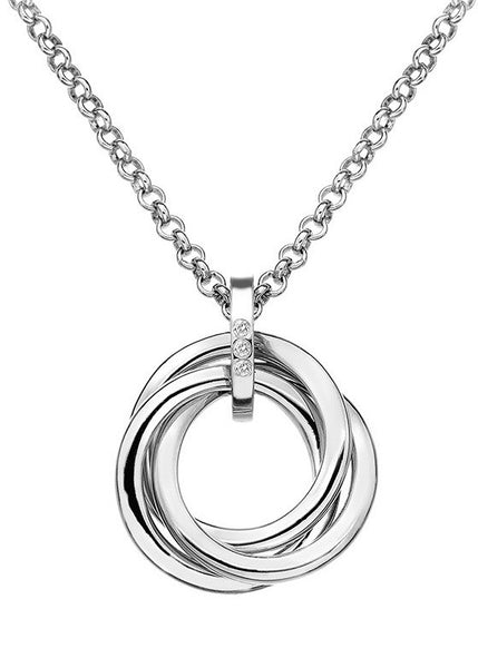Hot Diamonds Trio Silver Interlocking Pendant