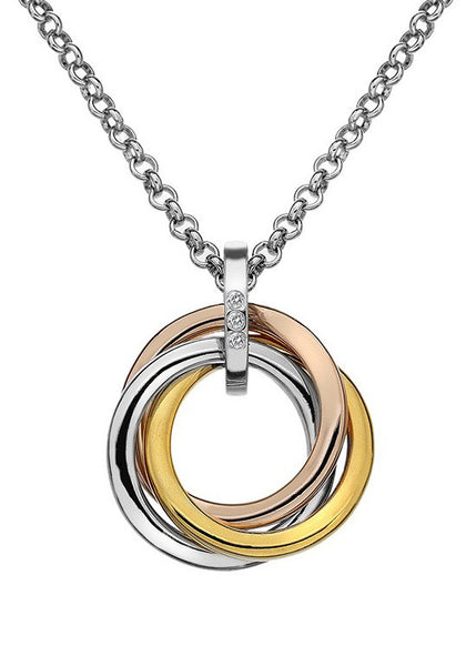 Hot Diamonds Trio Silver, Gold & Rose Interlocking Pendant