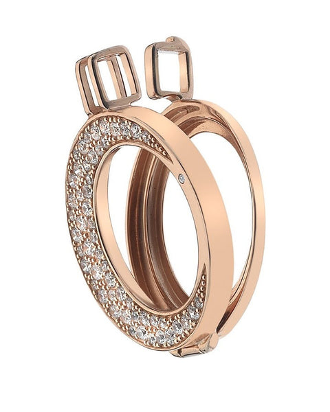 Emozioni Mezzaluna Rose Gold Plated Sterling Silver Keeper 25mm - DP616
