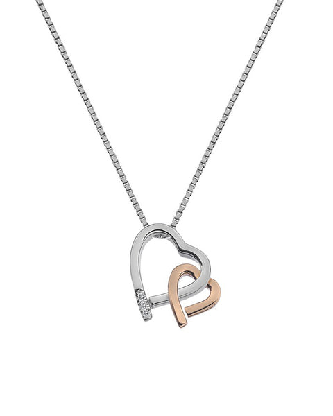 Hot Diamonds Amore Hearts Sterling Silver & Rose Gold Pendant - DP660
