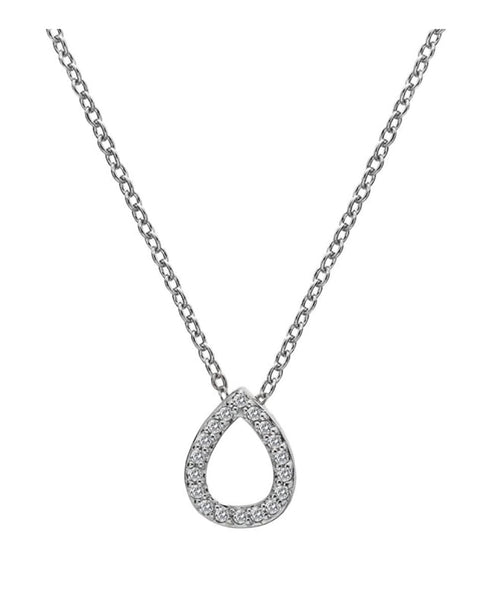 Hot Diamonds Bliss Teardrop Silver & White Topaz Pendant