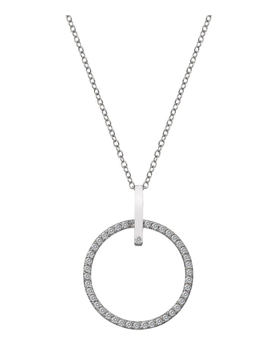Hot Diamonds Silver & White Topaz Constant Circle Pendant