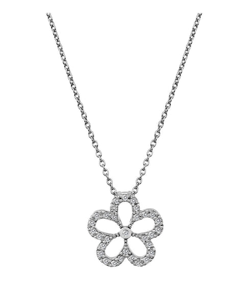Hot Diamonds Silver & White Topaz Gentle Daisy Pendant