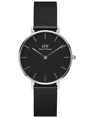 Daniel Wellington Ladies Petite Ashfield Black & Silver Watch DW00100202