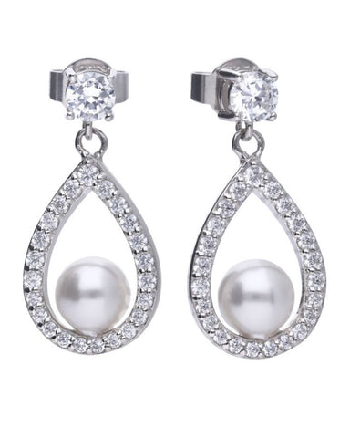 Diamonfire Silver, Zirconia & Freshwater Pearl Drop Earrings