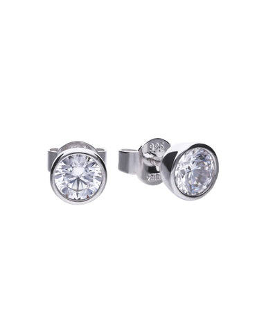 Diamonfire Cubic Zirconia & Silver Stud Earrings - 1.00ct