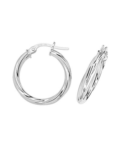 9ct White Gold 20mm Twisted Hoop Earrings