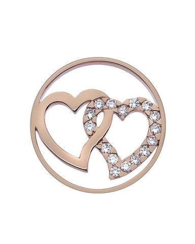 Emozioni Double Heart Rose Gold 33mm Coin - EC293
