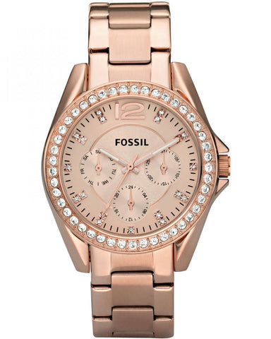 Fossil Riley Multifunction Rose-Tone Stainless Steel Watch ES2811