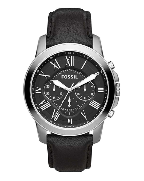 Fossil Grant Chronograph Black Leather Mens Watch