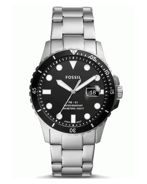 Fossil FB-01 Stainless Steel Black Dial Mens Watch