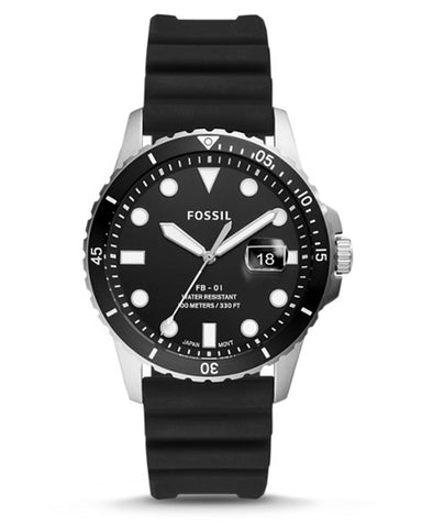 Fossil FB-01 Silicone Strap Black Dial Mens Watch