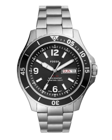 Fossil FB-02 Stainless Steel Black Dial Mens Watch