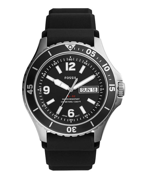 Fossil FB-02 Silicone Strap Black Dial Mens Watch