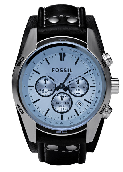 Fossil Sport Cuff Chronograph Leather Watch – Black